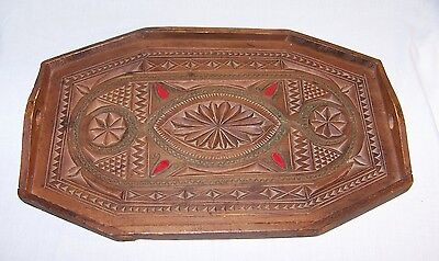 Vintage Wood Tray Handmade Carved Tramp Folk Art Server with Handles