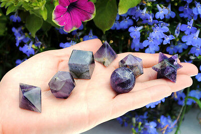 604 ~ 7 Pcs Amethyst Crystal Platonic Solids Sacred Geometry Set Merkaba Star