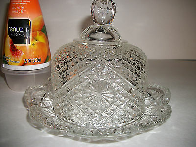 AVON Clear Glass Covered Butter Dish