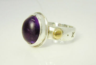 925 Sterling Silver & 18ct Yellow Gold Ladies Large Natural Amethyst Dress Ring