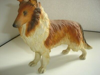 """Vintage6 1/4x8"""" Sable Collie Dog Figurine Hand Painted Hand Cast by Andrea #7733"""
