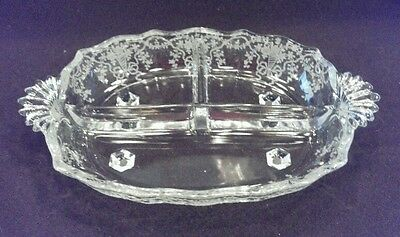 """Fostoria baroque corsage 10"""" oval relish flame handle 2 equal sections & celery"""