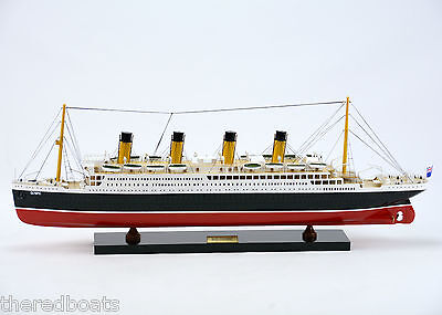"RMS OLYMPIC Cruise Ship 32"" Handmade Wooden Model Ship"