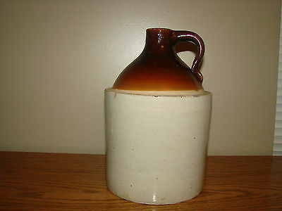 Antique STONEWARE Pottery Whiskey JUG Country Farm Primitive Brown & Gray Glazed