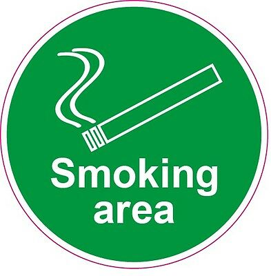 Smoking Area Health ans Safety Sticker signs 105 x 105 mm