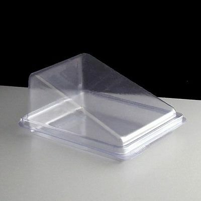 100 x Clear Cake Slice Wedge Box Container, Deli Takeaway Great Display