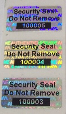 """100 SVAG Hologram Security Protection Label Seal 1/2"""" x 1"""" SSDNR#"""