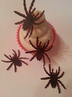 12 PRECUT Edible Halloween Spiders wafer/rice paper cake/cupcake toppers