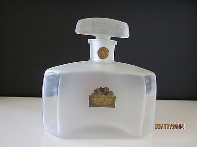 """1900 Art Glass Frosted Clear Perfume Bottle """"Violet Sec"""" Richard Hudnut Co., NY"""