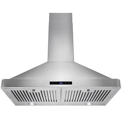 "30"" Classic Wall Mount Stainless Steel Range Hood Kitchen Ventless/Ductless"
