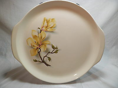 "Universal Potteries Ballerina Southern Gardens 12.25"" Tab Handle Cake Plate"