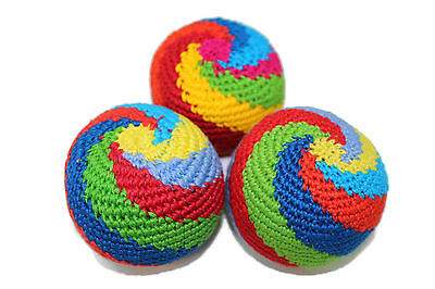Pack of 3 Handmade Spiral Hacky Sacks Footbag Juggling Balls Magic