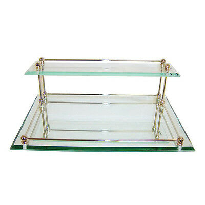 Mirrored Glass Gold Trim Accent Vanity Tray Jewelry Perfume Makeup Dresser Dish