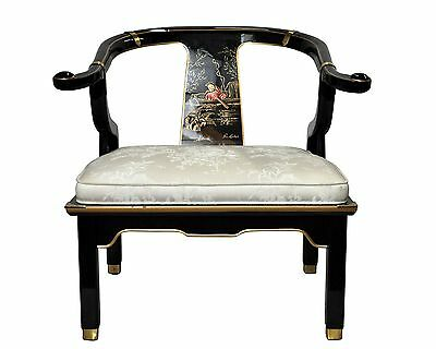 Asian-style black lacquer chair signed by North Carolina artist Pam Bolick