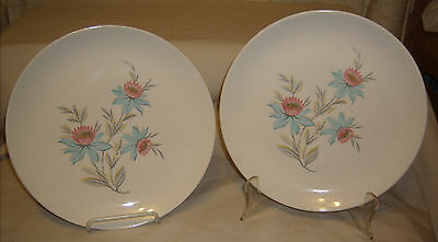 "2 VINTAGE CANONSBURG STEUBENVILLE POTTERY FAIRLANE 10"" DINNER PLATES"