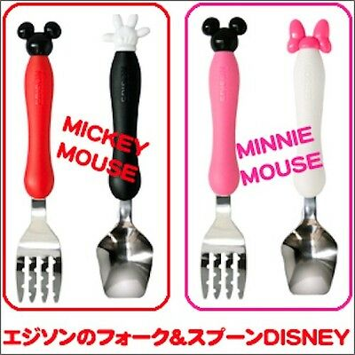 Edison Toddler Utensils Disney Mickey Minnie Mouse First Fork & Spoon Japan F/S