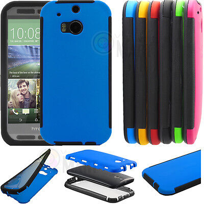 Wrap Up Built-in Screen Rugged Hard ShockProof Impact Case Cover For HTC One M8