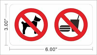 No Pet No Dog No Food Decal Store Sign Notice Warning Vinyl Sticker ~A318