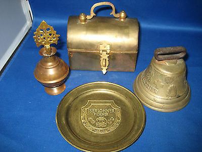 4 Antique German Embossed Brass Bell,Lided box, Plate,Perfume bottle 1LBS, 4 oz