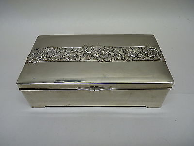 Occupied Japan, Silver Plate Jewelry Box with Wood Liner, Flower Design