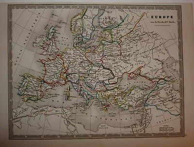 1844 Monin Historical Map Late 13th CENTURY EUROPE Hand Colour Political Borders