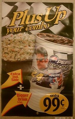 "2003 KFC, Pepsi, Jeff Gordon, NASCAR Advertising Banner 24""x36"" doublesided"