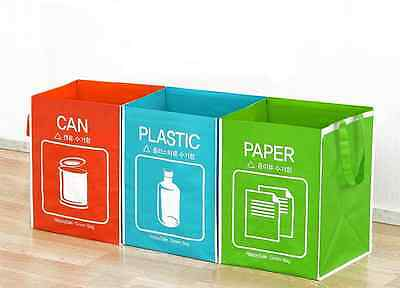 3Pcs of Seperate Recycling Bins Wastebasket, Can Plastic Paper Storage Bags