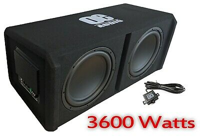 """12"""" Twin Active Amplified Double Bass Box Sub Car Subwoofer Amp Amplifier 3600W!"""