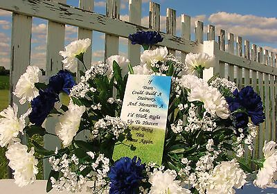 Fathers Day Verse Headstone Saddle Cemetery Memorial Flowers Carnations Funeral