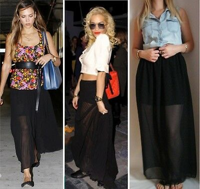 73594da6f3d3c Black Chiffon Sheer Maxi Skirt With Underskirt 6 8 10 12 14 16 Petite Reg  Tall
