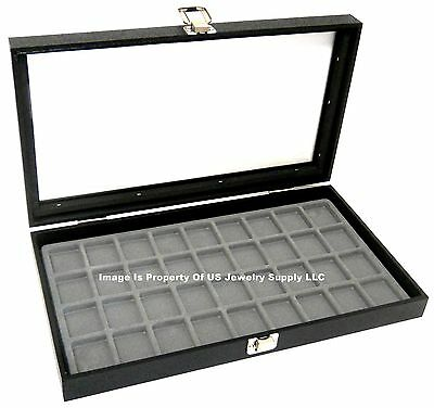 1 Glass Top Lid Grey 36 Space Jewelry Display Box Case Pendant Pin Brooch