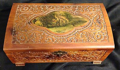 Antique Vtg Carved Wood Treasure Chest Jewelry Box Case W/ Scene Stunning 11""