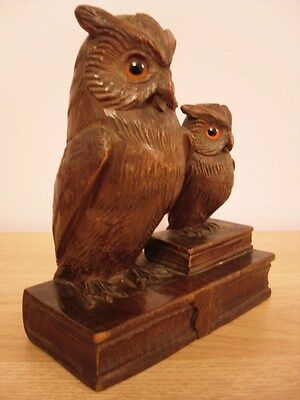 QUALITY BLACK FOREST SWISS WOOD CARVING WISE OWL AND OWLET ON BOOKS WOODEN
