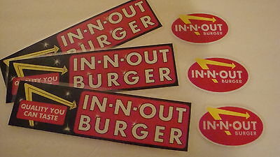 """In-N-Out Burger-Discontinued, Laminated """"bumper Stickers""""  -Lot Of Six (6)--3+3"""