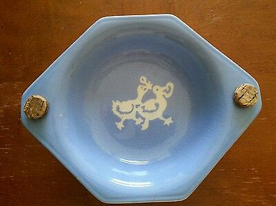 Blue cameoware cameo ware Harker Kiddo child's warming bowl hot water baby dish