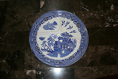 Vintage Petrus Regout Maastricht Blue Willow Dinner, Chop Plate, 3 Sectioned