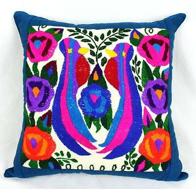 Mayan Cushion Hand Embroidered Stunning Colours Throw Pillow 45 X 45 Cm Teal