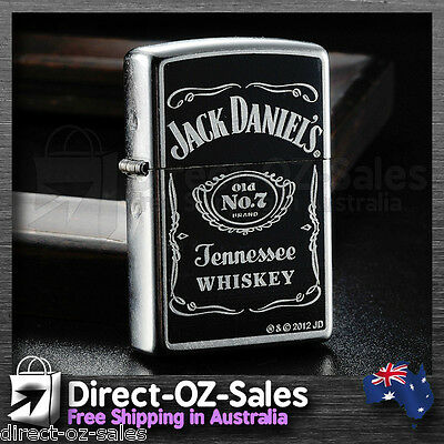 "Genuine ZIPPO -Aussie Seller  ""Jack Daniels Old No. 7"" Street Chrome - FREE POST"