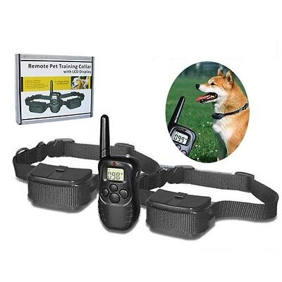 For 2dogs Remote Control Pet Training Dog Shock Collar with LCD Display 300M