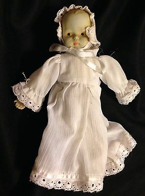 """Vintage Doll Bisque Porcelain  10"""" In Gown And Bonnet"""