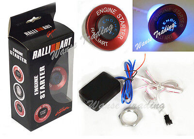 Universal Red RalliArt Button Ignition Engine Start Starter Switch Blue Led