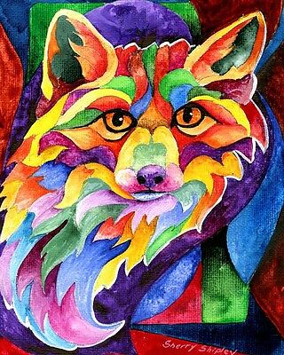 RAINBOW FOX 8X10 Print from Artist Sherry Shipley