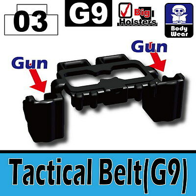 Black Skis and Poles W43 tactical compatible with toy brick minifig