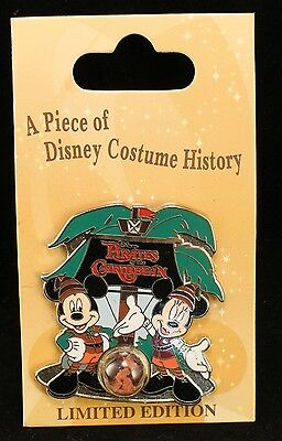 Disney DLR WDW Cast Member Piece of Costume Pirates of the Caribbean Mickey Pin
