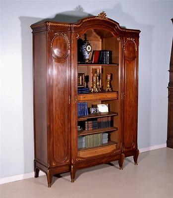 Louis XVI Antique French Mahogany and Bronze Bookcase Display Cabinet