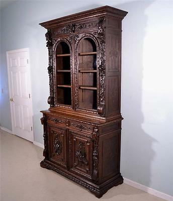 French Antique Hunting Style Black Forest Bookcase Oak Deux Corps Cabinet