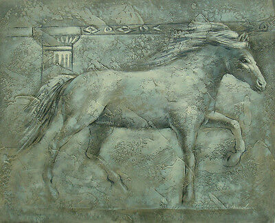 """Very Nice Oil Painting of Ancient Horse Running Wall Sculpture Portrait 20x24"""""""