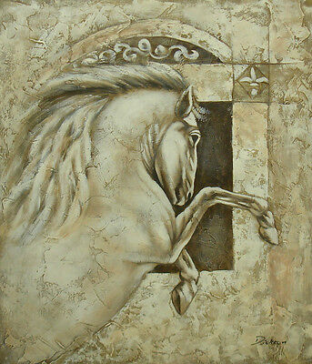 """Very Nice Oil Painting of Ancient Horse Jumping Sculpture Portrait 20x24"""" Canvas"""
