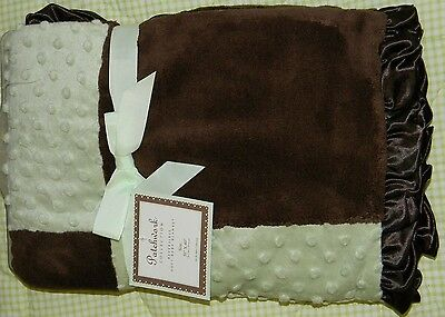 New SL Baby Collection Boutique Boy Green Brown Patchwork Satin Ruffle Blanket