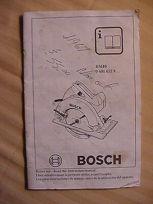 Bosch Owner's Instruction Manual For Model B5610 7-1/4 inch circular Saw